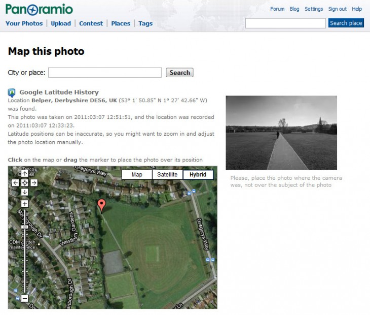 Geotagging with Panoramio and Google Latitude