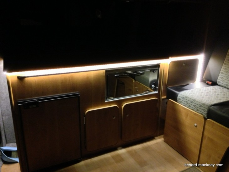 LED lights in campervan